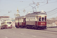 Vintage trams goes to the depot. Royalty Free Stock Photo
