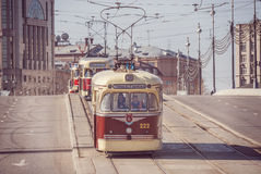 Vintage trams. Royalty Free Stock Images