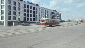 Vintage trams parad. Apr 20, 2018, Moscow, Russia: Parade of trams that were used in Moscow. Vintage trams go along the streets of the city stock video footage