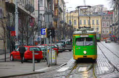 Vintage trams on a street of Poznan Royalty Free Stock Photos