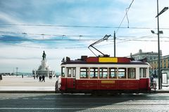 Vintage tramway at the Commerce Square in Lisbon. Portugal stock photo