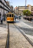 Vintage tramway touring Porto`s old town in Portugal Royalty Free Stock Photography