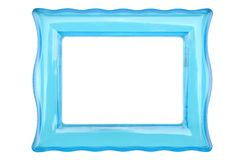 Vintage transparent plastic turquoise color frame on an isolated white background. Vintage transparent plastic turquoise color photo frame on an isolated white royalty free stock image