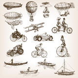 Vintage transport set sketch style vector Stock Image