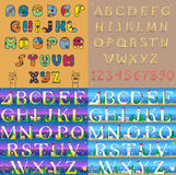 Vintage and travel alphabets. Unusual font Stock Photography