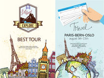 Vintage travel around the world poster Royalty Free Stock Photography