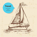 Vintage travel background with boat Royalty Free Stock Photos