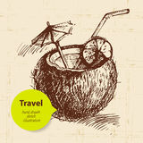 Vintage travel background with coco cocktail Stock Images