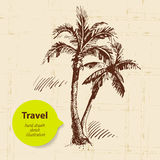 Vintage travel background with palms Royalty Free Stock Images