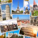 Vintage travel background with retro photos of european landmarks stock photos