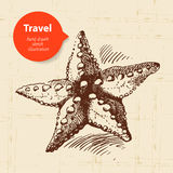 Vintage travel background with starfish Royalty Free Stock Images