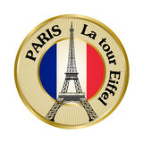Vintage travel badge with Eiffel tower Stock Photos