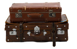 Vintage travel bags. Set of old suitcases Royalty Free Stock Image
