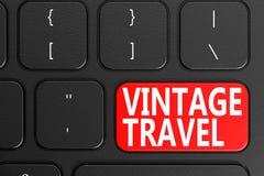 Vintage Travel on black keyboard. 3D rendering Royalty Free Stock Photos