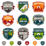 Vintage travel and camp badges Stock Photos