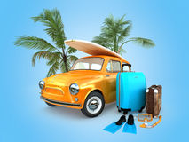 Vintage travel car Stock Images