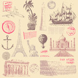 Vintage Travel Design Elements Stock Photography