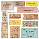 Vintage travel documents. Collection of vintage tickets from around the world and other travel documents Royalty Free Stock Images