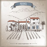 Vintage travel illustration with old Provence farm house. Herb garden, hill and mountain landscape. Hand drawn vector sketch. Great for farmer product and Stock Photography