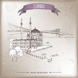 Vintage travel illustration with Ortakoy Mosque and bridge over Bosphorus in Istanbul, Turkey. Hand drawn sketch. vector illustration