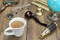 Vintage Travel Items On Wooden Table Royalty Free Stock Photography