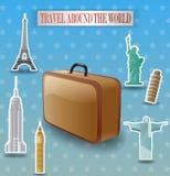 Vintage travel luggage poster Stock Photos