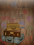 Vintage Travel with a luggage and stamp Royalty Free Stock Photo