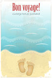 Vintage Travel Postcard - footprints in sand. At the beach - illustration Royalty Free Stock Photography