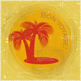 Vintage travel postcard - two palm trees Royalty Free Stock Images