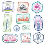 Vintage travel stamps with major monuments and landmarks vector set. Collection of stamp grunge for air mail and travel illustration Stock Image