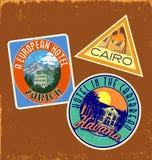 Retro suitcase sticker stickers. Set of retro souvenir suitcase stickers Royalty Free Stock Photo