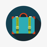 Vintage travel suitcases, flat icon with long shadow. Vector illustration file stock illustration