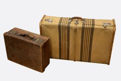 Vintage travel suitcases Stock Photos