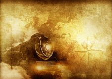 Vintage Travelers. Vintage Journey Background with Steam Locomotive, World Map and Compass Rose Stock Photos