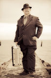Vintage Traveling Business Man Stock Photography