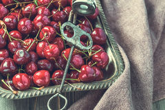 Vintage tray of cherries with stone remover Royalty Free Stock Images