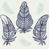 Vintage tribal doodle zentangle feathers Royalty Free Stock Image
