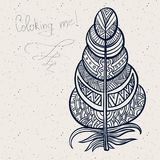 Vintage tribal doodle zentangle feathers Royalty Free Stock Photography