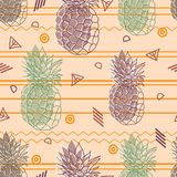 Vintage tribal pineapples vector background seamless repeat pattern. Summer colorful tropical textile print. Stock Photo