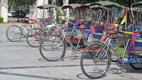 Vintage tricycle bicycle  in Chiang mai Thailand. stock video footage