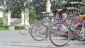 Vintage tricycle bicycle  in Chiang mai Thailand. stock video