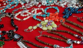 Vintage trinkets for sale at a flea market in Rome Royalty Free Stock Photo