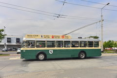Vintage trolley-bus driving Royalty Free Stock Photos