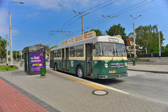 Vintage trolley-bus parking Stock Photo