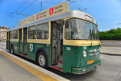 Vintage trolley-bus parking Royalty Free Stock Photo
