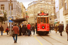 Vintage trolley in Istanbul, Turkey Stock Images