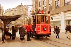 Vintage trolley in Istanbul, Turkey Royalty Free Stock Photos