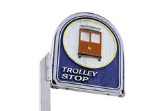 Vintage trolley stop sign, weathered and leaning crooked to the Stock Images