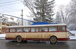 Vintage trolleybus on the street of Chernivtsi, Ukraine Royalty Free Stock Photography