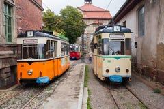 Vintage trolleys in Naumburg Royalty Free Stock Images